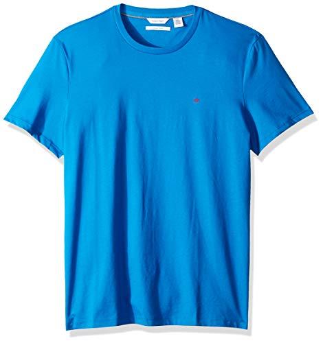 Calvin Klein Men's Short Sleeve Crew Neck Liquid Jersey T-Shirt with UV Protection, Crystal Sea, Medium (Calvin Klein Crystal)