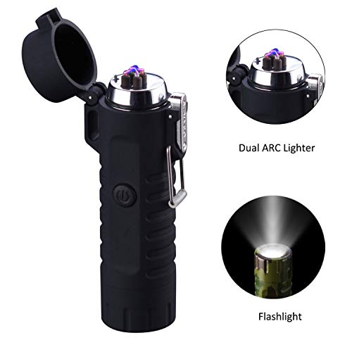 Electric Lighter and Flashlight in one, Saibit Dual Arc USB Rechargeable Lighter, Waterproof Safety Windproof Flameless Electronic Plasma Lighter for Cigarette, BBQ Camping Stove Activity (Black) ()