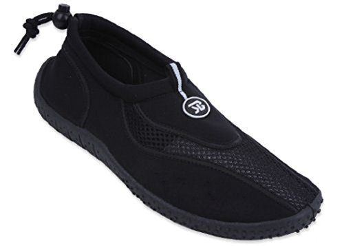 New Mens Slip on Water Pool Beach Shoes Aqua Socks (11, Black 5907)