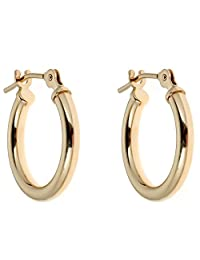 10k Yellow or White Gold Hoops Hoop Earrings 20mm (yellow-gold)