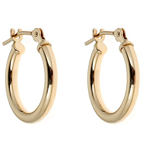 14k Yellow Gold Childrens Hoop (Children's 14K Yellow Gold Baby Hoops Tubular Shiny Round Hoops Hoop Earrings 2x12mm)