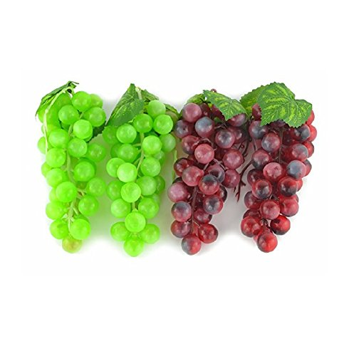 Mezly 4 Bunches of Artificial Green & Purple Grape Cluster Simulation Fake Fruit Home House Kitchen Party Decoration Lifelike Bunch Of Grapes