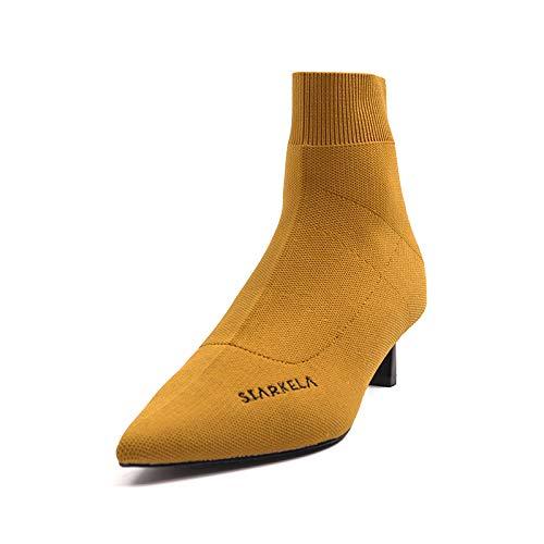 Talons Pointus Bottines pour Courtes Femmes Yellow à qgOnBxp