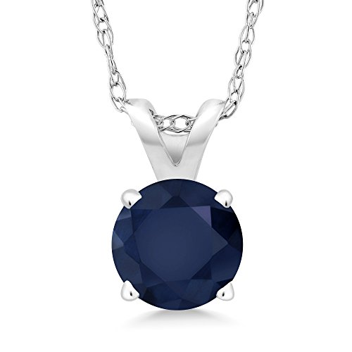 Gold Natural Stone Pendants - 14K White Gold Blue Sapphire Pendant Necklace, 1.00 Ct Round Gemstone Birthstone with 18 Inch Chain