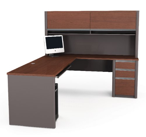 Connexion Series L-shaped Desk with Hutch Included in Bordeaux & Slate by Bestar