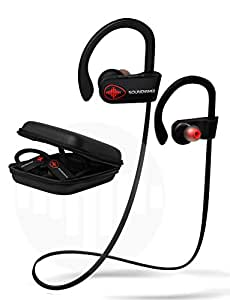 Bluetooth Headphones Running Earbuds. SoundWhiz Sweat Proof Sports Earphones - w Mic & Siri. Best In Ear Wireless Headphones 8 Hours Play