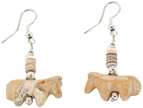 Native-Bay Carved Fetish Horse Authentic Made by Charlene Little Navajo Silver Hooks Natural Jasper Heishi American Earrings