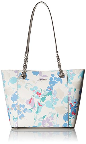 White Floral Tote (Calvin Klein Hayden Printed Saffiano East/West Tote, Floral White)