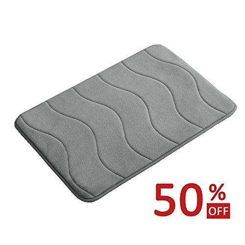 Memory Foam Coral Velvet Non Slip Bathroom Mat/ Bath Rug, 17W X 24L Inches (Gray Waved - Long Shape Face