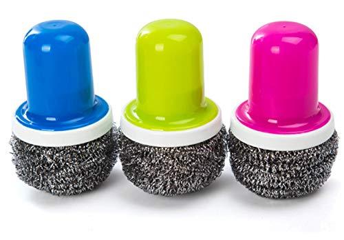 Obequbao - Esponjas de acero inoxidable con mango y cepillo para polvo de limpieza para cocina o sartén de baño, Paquete...
