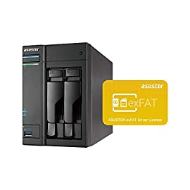 Asustor AS6302T | Network Attached Storage + Free exFAT License | 2.0GHz Dual-Core, 2GB RAM | Home or Business Data Media Server (2 Bay Diskless NAS) 9 TIER - Mid-level home / power user 2-bay NAS for storage and multimedia with 2.0GHz Dual-Core processor and 2GB DDR3 RAM (expandable to 8GB), able to handle as virtual storage machine. This NAS packs a power performance with up to 216MB/s read and 218MB/s write speed. FEATURES - Asustor Backup Plan allows you to automatically schedule a backup of your data from any PC or MAC to your NAS. Asustor EZ-Connect allows you to connect to your NAS remotely from any computer or mobile phone. Asustor EZ-Sync turns your NAS into a real-time file syncing personal cloud space with file versioning. APPS - Over 200+ free unique apps for any home or business use. The apps offered cover a wide range of utility and features such as: server backup, cloud backup, anti-virus, media server, photo syncing, music and video streaming.