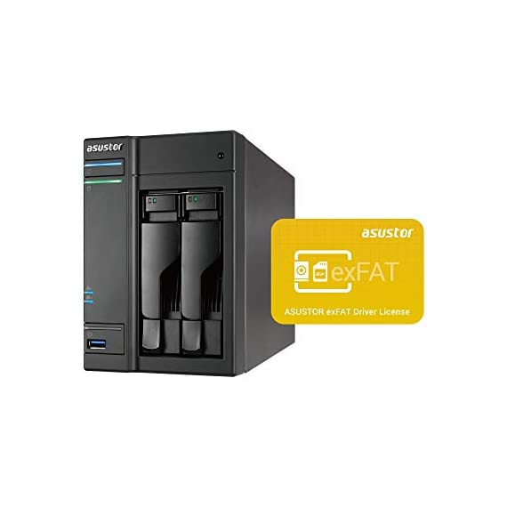 Asustor AS6302T | Network Attached Storage + Free exFAT License | 2.0GHz Dual-Core, 2GB RAM | Home or Business Data Media Server (2 Bay Diskless NAS) 1 TIER - Mid-level home / power user 2-bay NAS for storage and multimedia with 2.0GHz Dual-Core processor and 2GB DDR3 RAM (expandable to 8GB), able to handle as virtual storage machine. This NAS packs a power performance with up to 216MB/s read and 218MB/s write speed. FEATURES - Asustor Backup Plan allows you to automatically schedule a backup of your data from any PC or MAC to your NAS. Asustor EZ-Connect allows you to connect to your NAS remotely from any computer or mobile phone. Asustor EZ-Sync turns your NAS into a real-time file syncing personal cloud space with file versioning. APPS - Over 200+ free unique apps for any home or business use. The apps offered cover a wide range of utility and features such as: server backup, cloud backup, anti-virus, media server, photo syncing, music and video streaming.