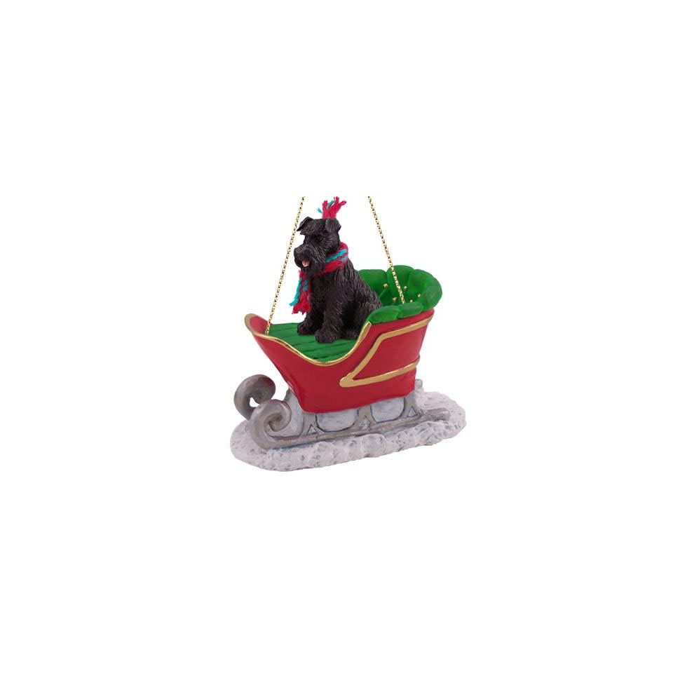 SCHNAUZER DOG Black Uncropped Ears on a SLEIGH Ride Resin