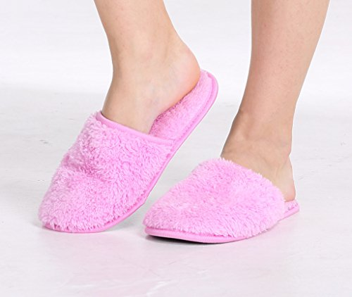 Pembrook Ladies Slippers With Memory Foam – Fuzzy Coral Fleece – House Slipper For Adults, Women, Girls