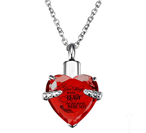 - PREKIAR Heart Cremation Urn Necklace for Ashes Urn Jewelry Memorial Pendant with Fill Kit and Gift Box - Always on My Mind Forever in My Heart (Your Wings were Ready-Red)