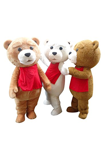 Sinoocean Teddy Bear Ted Adult Mascot Costume Cosplay Fancy Dress Outfit (Brown(The Right -