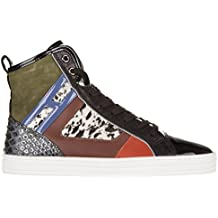 HOGAN REBEL Women's Shoes High Top Leather Trainers Sneakers Rebel r141 Patchwor
