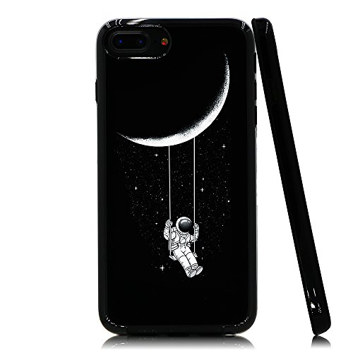 (Lartin Astronaut Riding a Swing Tethered to the Moon Soft Flexible Jellybean Gel TPU Case for iPhone 8 Plus/iPhone 7 Plus/iPhone 6S Plus/iPhone 6)