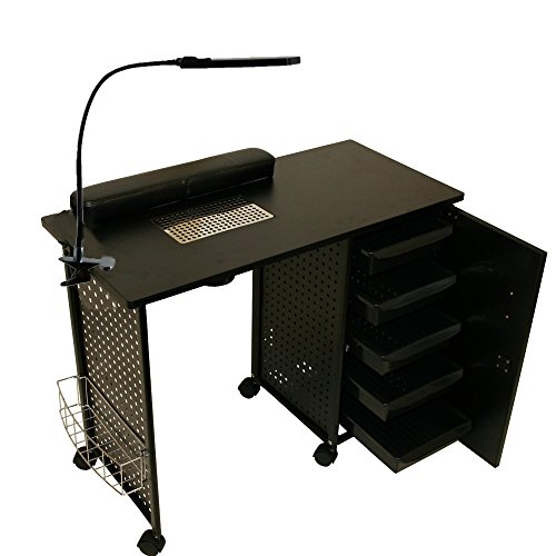 LCL Beauty Black Steel Frame Vented Manicure Nail Table Desk Station Spa Salon Equipment by LCL Beauty