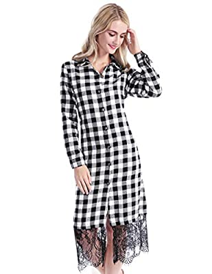 CHICIRIS Women's Loose Long Sleeve Casual Button Down Top Blouse Plaid Shirt