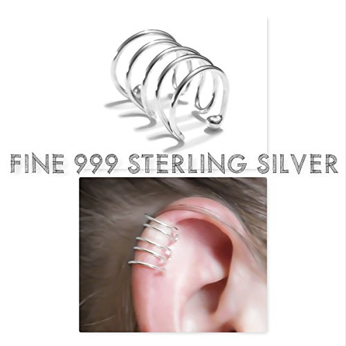 Multi-Hoop Ear Cuff Cartilage Helix Earring Fine 999 Sterling Silver Adjustable