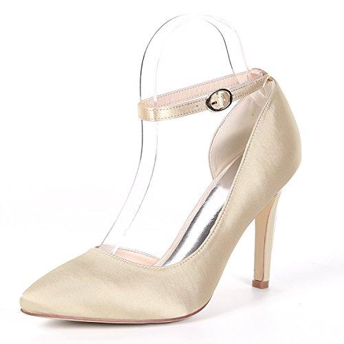 L@YC Femmes Chaussures de Mariage Chaton Boucle Satin Pompes Classiques Plate-Forme Demoiselle D'honneur/Talons Hauts/0608-07B Champagne kGo2Fe