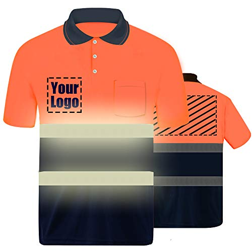 High Visibility Reflective Safety T-Shirt Custom Your Logo Protective short sleeve Polo Shirt Outdoor Workwear (Orange ()