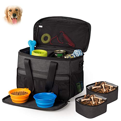 Carrier Travel Tote Bag - Hilike Pet Travel Bag for Dog&Cat -Weekend Tote Organizer Bag for Dogs Travel -Incudes1 Dog Tote Bag,2 Dog Food Carriers Bag,2 Pet Silicone Collapsible Bowls.(Black)