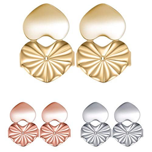 Amzonbasics Earrings Backs - Earring Lifters Earring Lifts for Droopy Ears, Bad Piercings, Heavy Earrings (3 Pairs 925 Sterling Silver)