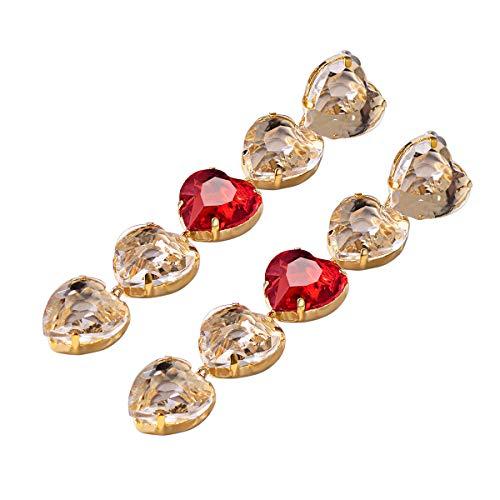 Red Heart Earrings 925 Sterling Silver Ear Studs Women Girls Long Dangle Party Sparkle Luxury Gold Statement Crystal Earrings