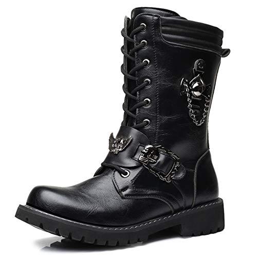 Top in Pelle da Uomo Stivali da Combattimento Stivali da Uomo Army Boots per Uomo Clming da Trekking Stivali da Cowboy Desert Boots Calzature Black