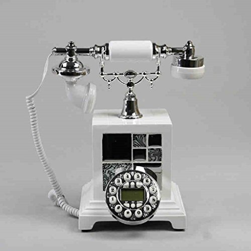 GQQ Wired Telephone Home Fixed Set Answer Machine Retro Phone Creative Desktop Telephone Answering Machine (Resin, 251925CM) (Color : White) (Retro Phone With Answer Machine)
