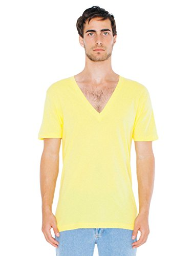 American Apparel Men Sheer Jersey Deep V-Neck T-Shirt Size XS Sunshine