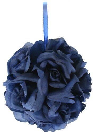 Garden Rose Kissing Ball - Navy Blue - 6 inch -