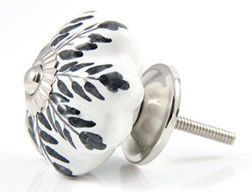 Set of 12 Pieces Leaf Floral Ceramic White Cabinet Knobs Furniture Handle Drawer Pull Vintage Designer (BLACK)