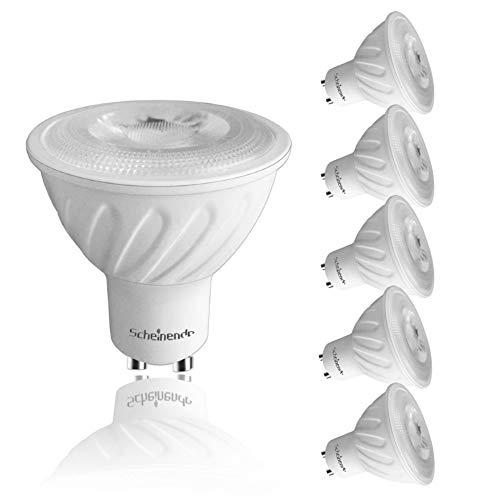 Scheinenda GU10 LED Bulbs, 60w Halogen Bulbs Equivalent, 5000K Daylight White, Dimmabla, 7w 550lm COB LED Light Bulbs, 40o Beam Angle, Track Light, Recessed Light, Spot Light, 6 Pack
