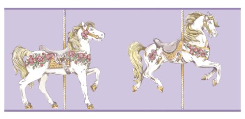 Cavalier Toile Wallpaper - York Wallcoverings YS9137BD Peek-A-Boo Toile Carousel Horse Border, Lavender/White/Rose Pink/Gold Tone Yellow/Medium Green