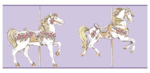 - York Wallcoverings YS9137BD Peek-A-Boo Toile Carousel Horse Border, Lavender/White/Rose Pink/Gold Tone Yellow/Medium Green