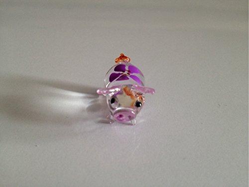 Pig Figure Dollhouse Miniatures Animals Purple Head up Collectible Figurine