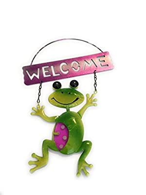Spring Garden Collection Decorative Metal Frog Welcome Sign Pink