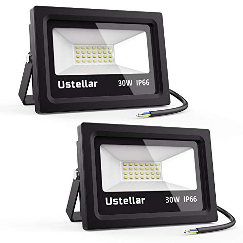 Ustellar 2 Pack 30W LED Flood Light, IP66 Waterproof, 2400lm, 150W Halogen Bulb Equivalent Outdoor Super Bright Security Lights, 5000K Daylight White, Floodlight Landscape Wall Lights