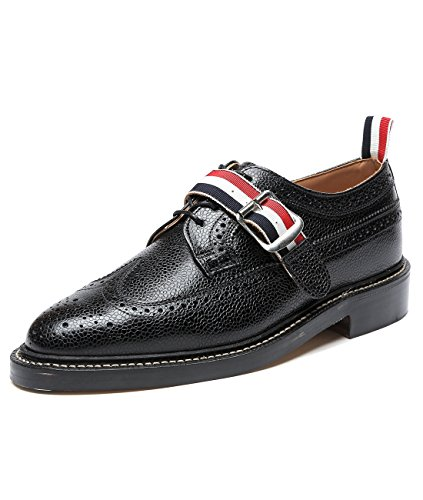 wiberlux-thom-browne-mens-buckled-strap-lace-up-wingtip-real-leather-shoes-7-black