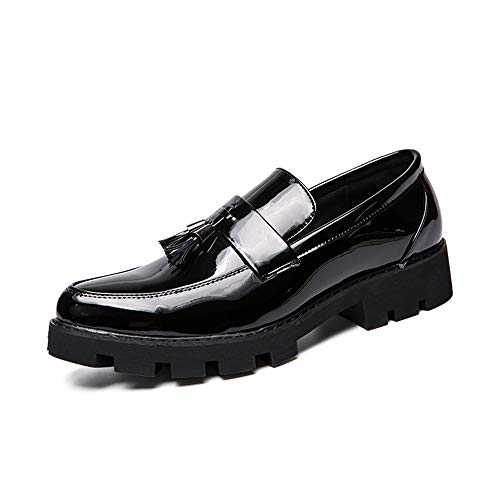 (Dig dog bone Business Oxford Casual Trend Fashionable Color Matching Tassel Decoration Patent Leather Formal Shoes (Color : Black, Size : 6.5 D(M))