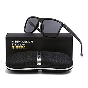 NIEEPA Men's Sports Polarized Sunglasses Square Frame Glasses