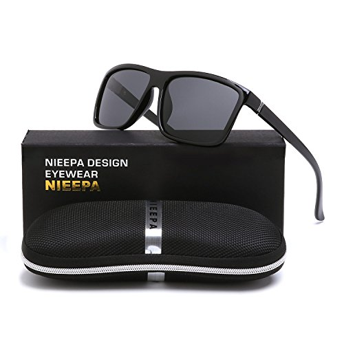 NIEEPA Men's Driving Sports Polarized Sunglasses Square Wayfarer Plastic Frame Glasses (Grey Lens/Bright Black - For Men Square Sunglasses