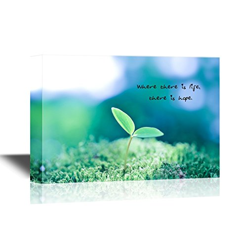 wall26 - Motivational Quotes Canvas Wall Art - Where There is Life There is Hope - Gallery Wrap Modern Home Decor | Ready to Hang - 12x18 inches -
