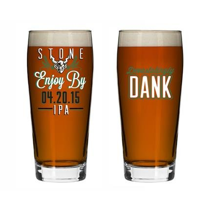 Set of 2 Stone Brewing Enjoy By 04.20.15 420 Double IPA Craft Beer Pint Glasses