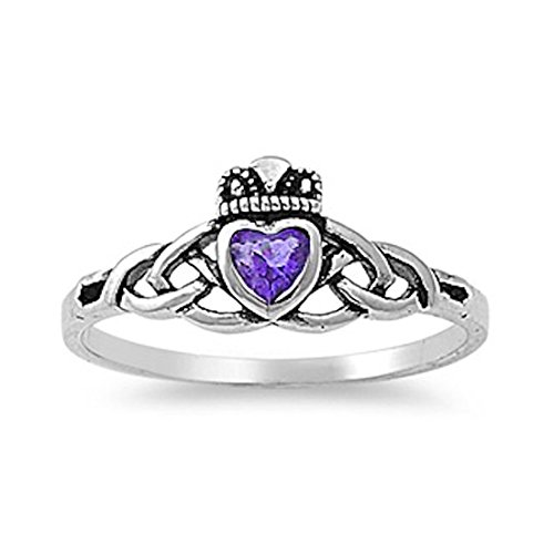 Celtic Knot Irish Dublin Claddagh Heart Promise Ring Simulated Amethyst 925 Sterling Silver,Size-9 (Ring Heart Claddagh Celtic Amethyst)