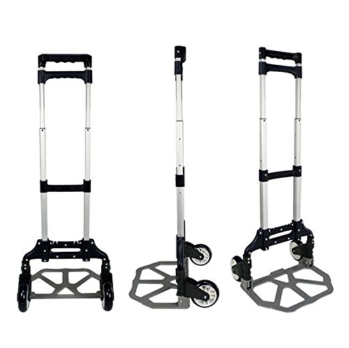 New Aluminum Folding Cart Hand Truck Dolly Push Collapsible Trolley Luggage 170 lbs Weight Load Portable Luggage Carrier Rolling Rack Travel Wheels Utility Warehouse Shopping Heavy