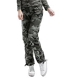 Tonwhar Womens Military Pants Woodland Camouflage Cargo Pants